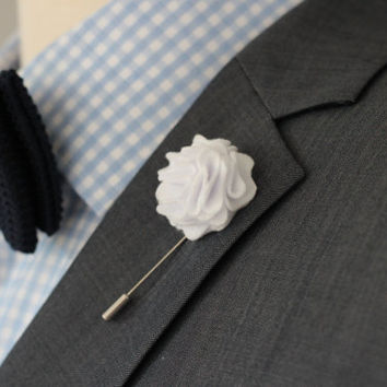 Lapel flower pin, white carnation boutonniere, wedding boutonniere, rustic wedding boutonniere