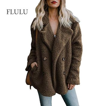 FLULU Winter Women Faux Fur Coat Casual Solid Warm Long Sleeve Faux Fur Jacket Coat Female Vintage Outwear casaco feminino