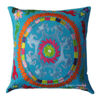 16x16 Blue Indian Suzani Embroidered Decorative & Accent Toss Pillow Cover