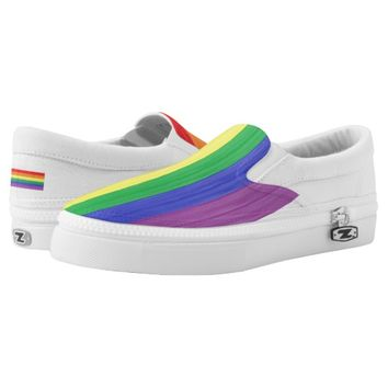 Painted Rainbow Flag Slip-On Sneakers