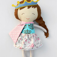 Rag doll gift for children, princess fabric doll, personalized gift for kids, custom unique toy for girls, handmade princess