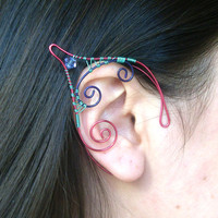 Seafoam Green, Pink & Purple Handmade Wire Wrapped Elf Ear Cuffs With Swarovski Elements, Wire Weave, Spiral, Elven Ears, Cosplay