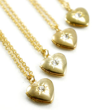Tiny Vintage Heart Locket Necklace with White Rhinestone - Bridesmaids Gifts Idea - Romantic Gift Idea - VL002