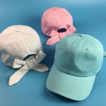 ESBONJ Fashion Women Cute Bowknot Curved Hat Summer Solid Candy Color Sun-shading Baseball Cap Female Cotton Visors Golf Lovely Hats
