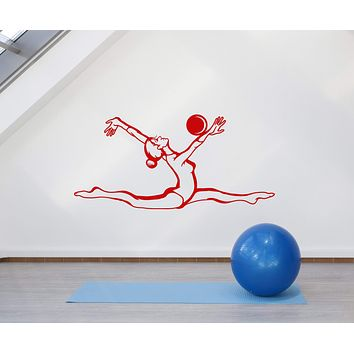 Vinyl Wall Decal Gymnastics Girl With Ball Sport School Stickers (2754ig)