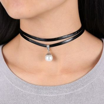 Celebrity Double Layer Black Leather Choker Necklace