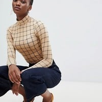 New Look Grid Check Roll Neck Top at asos.com