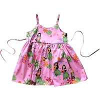 hula girl pink hawaiian girl sundress