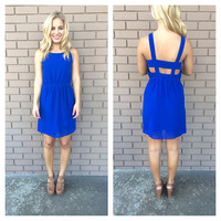 Royal Blue Cut Out Chiffon Dress