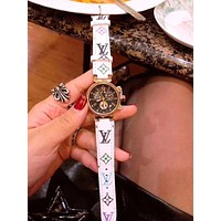 "Hot Sale LV ""Louis Vuitton"" Popular Women Men More Print Multicolor Watches Wrist Watch White I-JYXCX-YB"