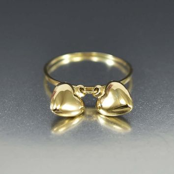 Vintage 14K Gold Double Heart Charm Ring