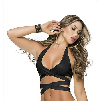 Black Wrap Around Bikini Halter Top (Available Many Colors)