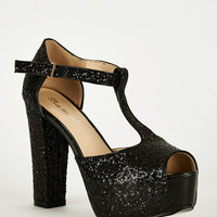 Black Sparkly T-Bar Peep Toe Shoe With Block Heel