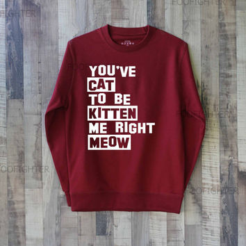 Are You Kitten Me Right Meow Shirt Sweatshirt Sweater – Size XS S M L XL