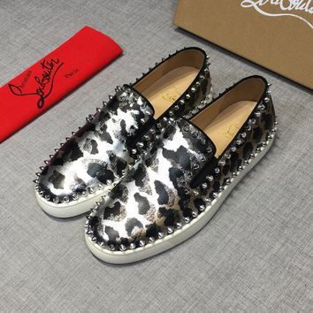Christian Louboutin CL Black Silver Pik Boat Leather Low Top Sneakers - Best Deal Online