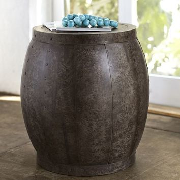 MARLOW METAL DRUM ACCENT TABLE