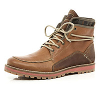 Brown contrast panel worker boots - boots - shoes / boots - men