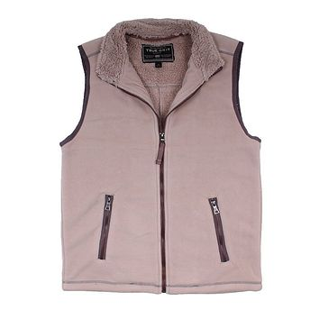Bonded Polar Fleece & Sherpa Lined Vest in Sand by True Grit