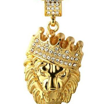 "Halukakah ""KING'S LANDING"" 18k Gold Crown Lion Pendant Necklace w/ FREE Shark Tail Chain 30"""