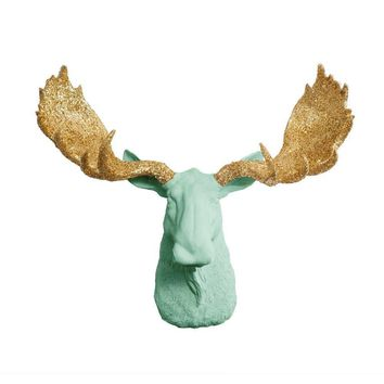 The Alberta | Moose Head | Faux Taxidermy | Mint Green + Gold Glitter Antlers Resin