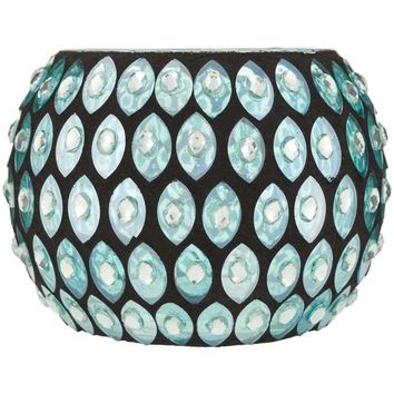 Turquoise Glass Mosaic Roly Poly Candle Holder | Hobby Lobby