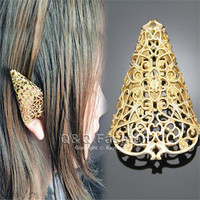 New Fashion Bloggers Fairy Elf Pixie Filigree Cut Out Angel Ear Tip Cuff Earring Fancy Dress Jewelry