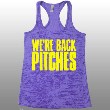 We're Back Pitches Tank Top. Workout Shirt. Funny Gym Tank Tops for Women. Running Tank.