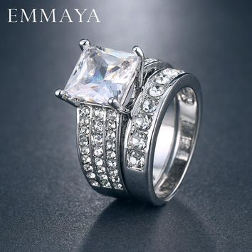 EMMAYA Sliver Color Luxury 2 Rounds Ring Bijoux Fashion Wedding Ring Set CZ Cubic Zirconia Jewelry For Women Chirstmas Gift