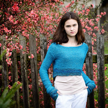 Turquoise,cropped sweater,women's sweater,knit sweater,women's fashion,long sleeves,alpaca sweater,elegant,wool sweater,ready to ship