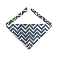 Dog Bandana, Blue Chevron, Dog Collar Accessory, Pet Accessory