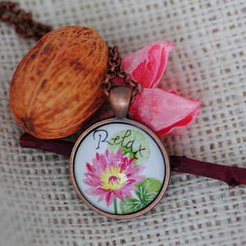 Lotus Necklace, Hand Painted Pendant, Lotus Pendant, Pink Flower Necklace, Meditation Necklace Stay Calm Inspirational Jewelry Mother's Day