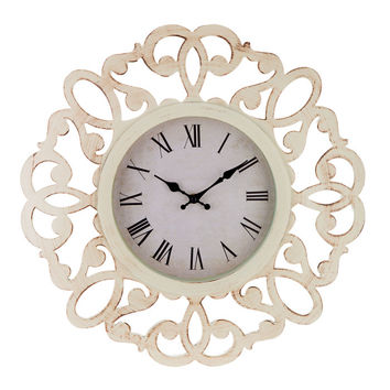 Brushed White Collette Cut-Out Flourish Wall Clock | Hobby Lobby | 1290535