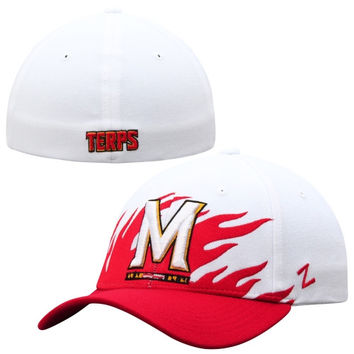 Maryland Terrapins Zephyr Flame Flex Hat – White/Red