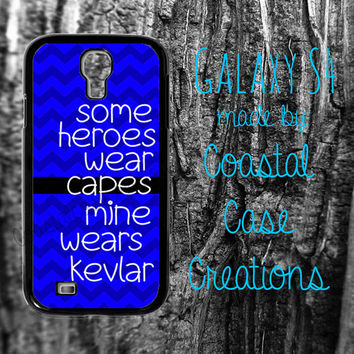 Thin Blue Line Quote Custom Samsung Galaxy S4 2 Piece Durable Cell Phone Case Cover Original Design