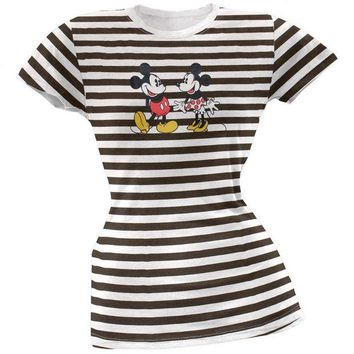 CUPUPWL Mickey Mouse - Friends Stripe Juniors T-Shirt