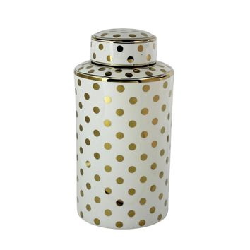 Decorative Ceramic Covered Jar With Golden Polka Dot Design, White & Gold By Sagebrook Home