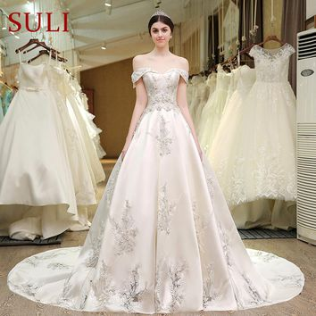Designer Wedding Bridal Gowns Satin Embroidered Pearls Bling Lace Wedding Dress