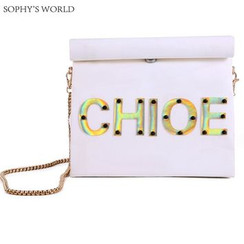 Customized Letters Women's Handbag Personality Bag Kraft Paper Runway Clutch Bag Chains Shoulder Bag Roll Rim Party Purse