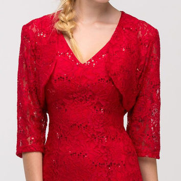 Red Mid Length Sleeve Lace Bolero Jacket