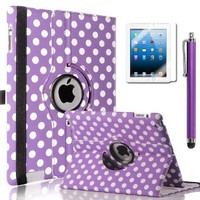 ULAK 360 Degree Rotating Magnetic Synthetic Leather Stand Cases Smart Cover Protective Shell Wake/sleep Function For Apple iPad 2, iPad 3(the new iPad) , iPad 4th Generation (Purple+White Polka Dot)