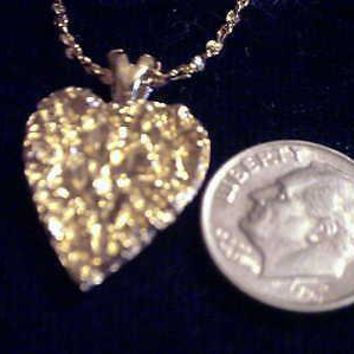 "bling gold plated nugget heart charm 24"" rope chain hip hop necklace jewelry hot"