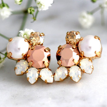 Rose Gold Earrings, Bridal Rose Gold Earrings, Cluster Earrings, Bridesmaids Earrings, Pearl Stud Earrings, Swarovski Earrings, Opal Studs