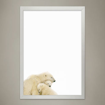 POLAR BEAR Family Print, Animal Print Nursery wall decor, Wall Art for Children's room, Baby Room Decor, Watercolor Animal Illustrations