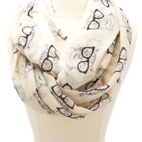 GLASSES KITTY PRINTED INFINITY SCARF