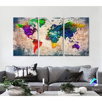 "LARGE 30""x 60"" 3panels 30x20 Ea Art Canvas Print Watercolor Old Map World Push Pin Travel M1808"