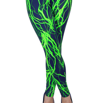 Navy and Green Lightning Spandex Leggings