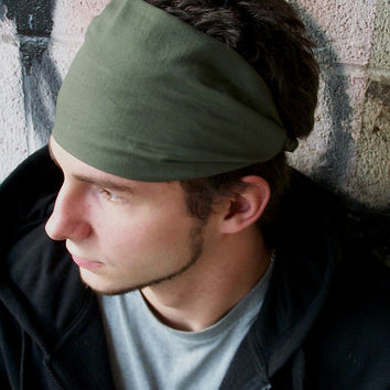 Men s Headband Olive Green Hair Band Headscarves Head Scarf Head 3f6cffc98ce