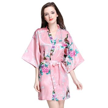 Women Silk Kimono Short Night Robe Satin Bathrobe Sexy Lingerie Sleepwear Wedding Bridesmaid Robes Casual Homewear S-XXL
