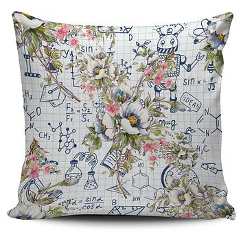 Floral Science Symbols Pillow Cover