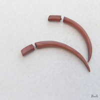 Tribal Fake Gauge Wood Earring, Saba Long Talons Fake Taper Earrings, Handmade Fake Gage Wooden Earring
